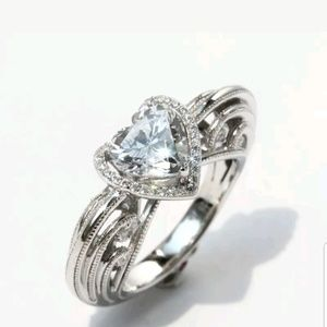 Jewelry - Heart  White Topaz 925 Silver sterling ring